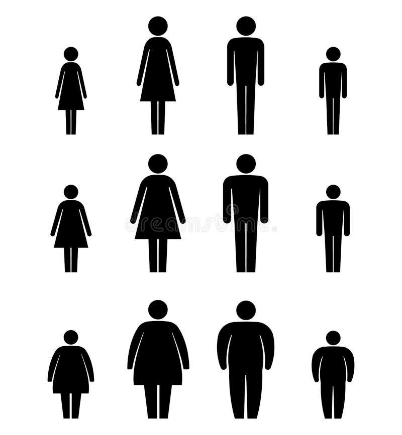 El hombre, la mujer y el cuerpo de los niños figuran el icono del tamaño Pegue las figuras Aislado en el fondo blanco Ilustración stock de ilustración