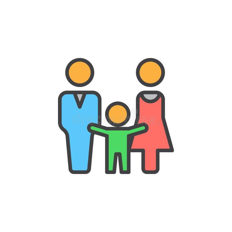 El hombre, la mujer y el niño alinean el icono, muestra llenada del vector del esquema, pictograma colorido linear aislado en bla libre illustration