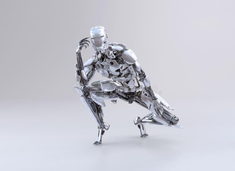 El hombre, la sentada y el pensamiento del cyborg del robot, tocan su cabeza ilustración 3D stock de ilustración