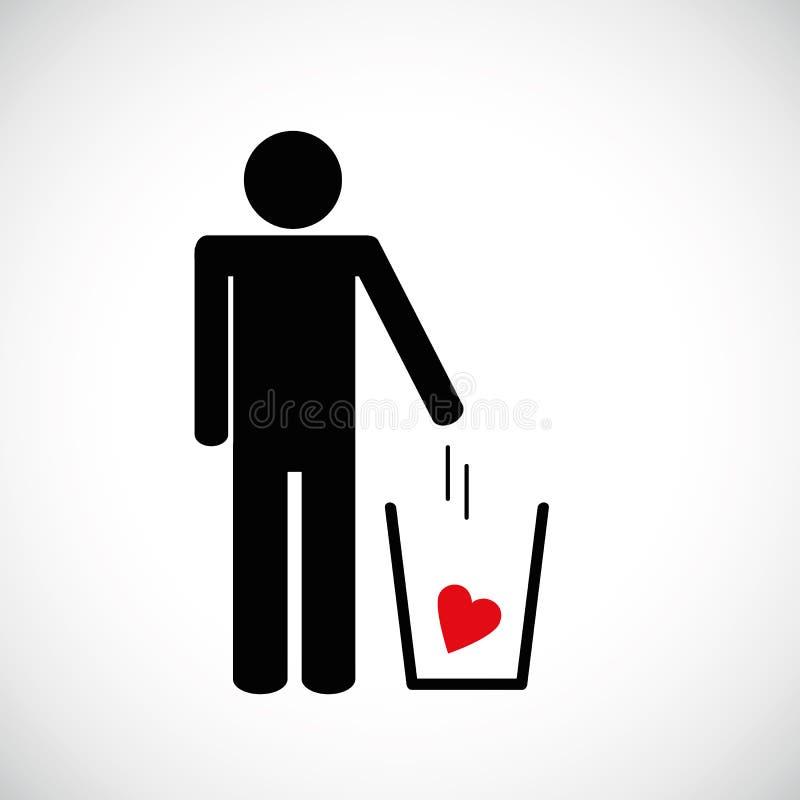 El hombre lanza el corazón en el icono del pictograma de la basura stock de ilustración