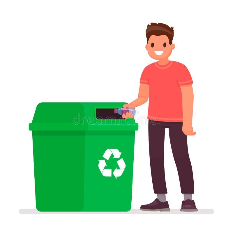 El hombre lanza una botella plástica en el bote de basura El concepto de cuidar para el ambiente y de clasificar la basura libre illustration