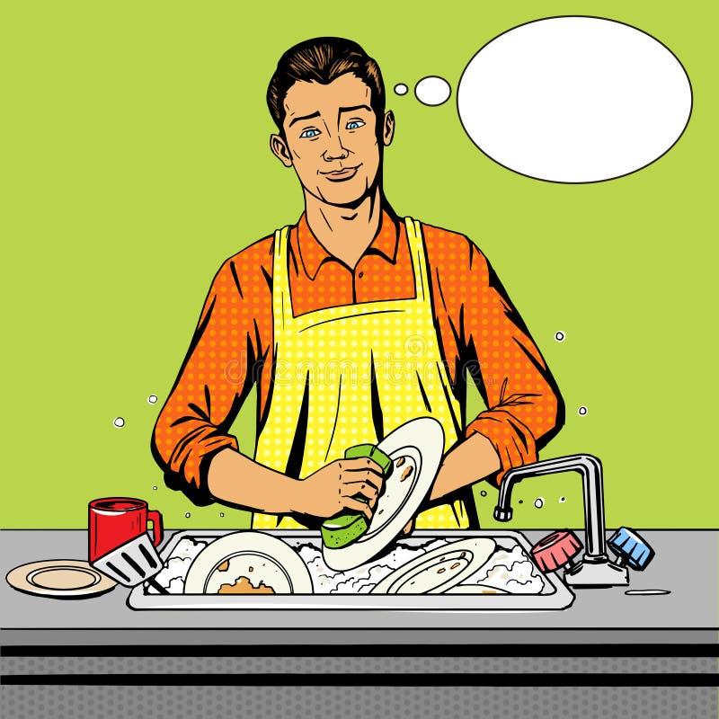 El hombre lava vector del estilo del arte pop de los platos libre illustration