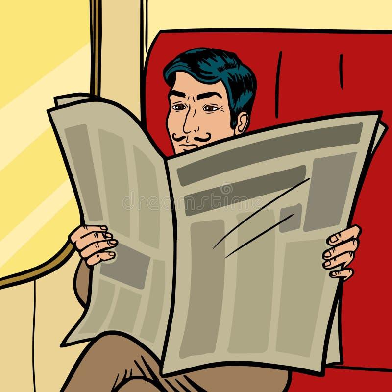El hombre lee el periódico en vector del estilo del arte pop del tren ilustración del vector