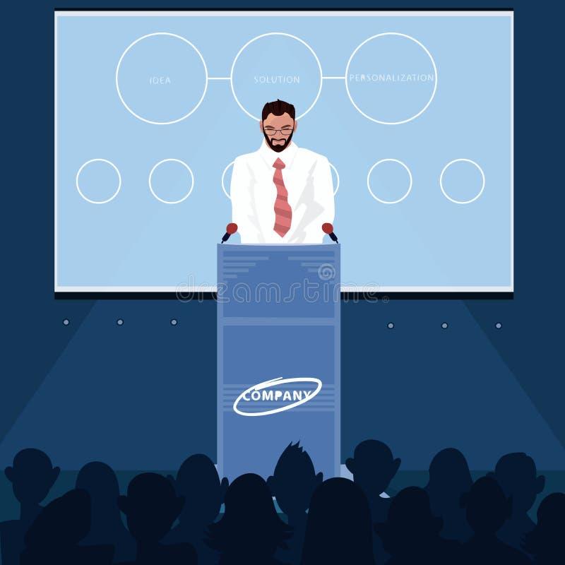 El hombre lee las noticias para la audiencia ilustración del vector
