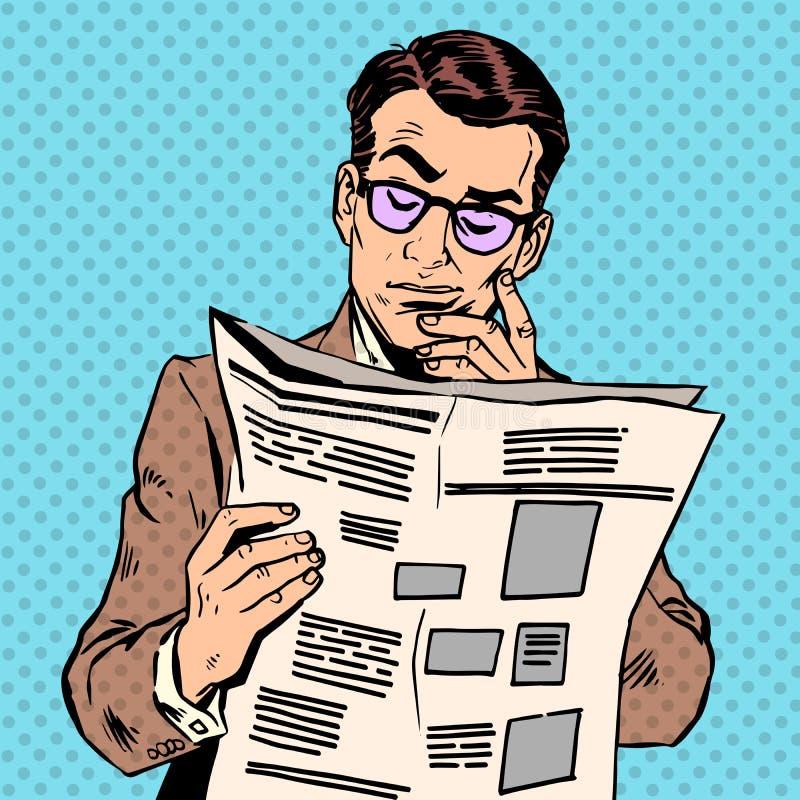 El hombre lee un papel de las noticias stock de ilustración
