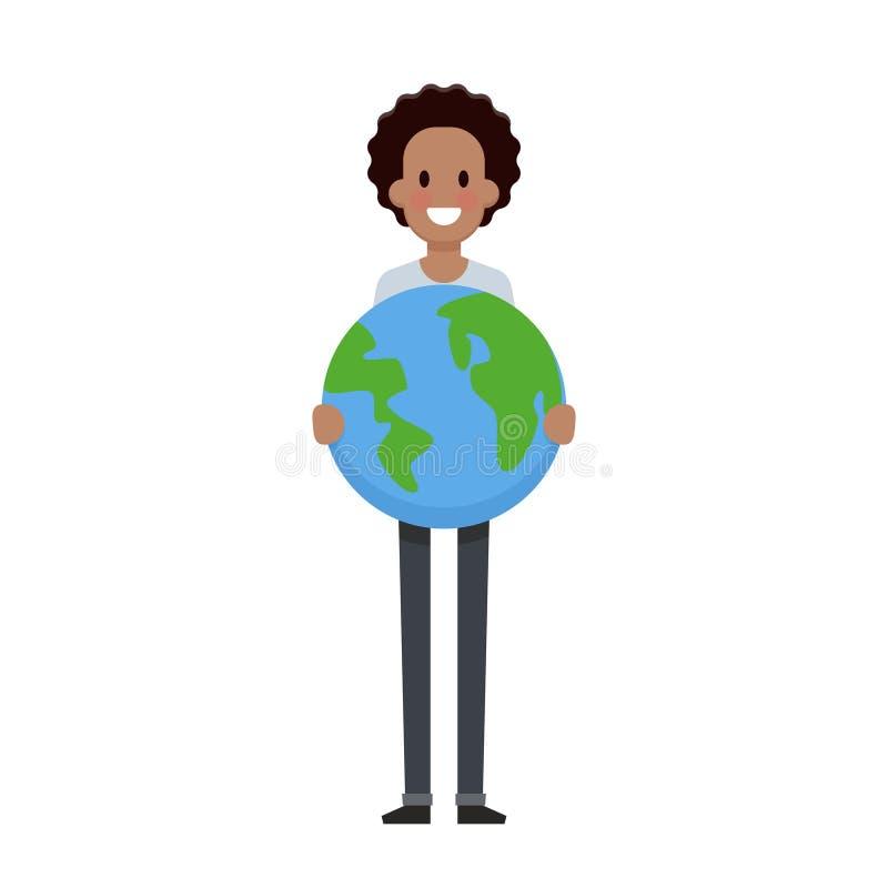 El hombre lleva a cabo el diseño plano de la tierra Excepto concepto del planeta libre illustration