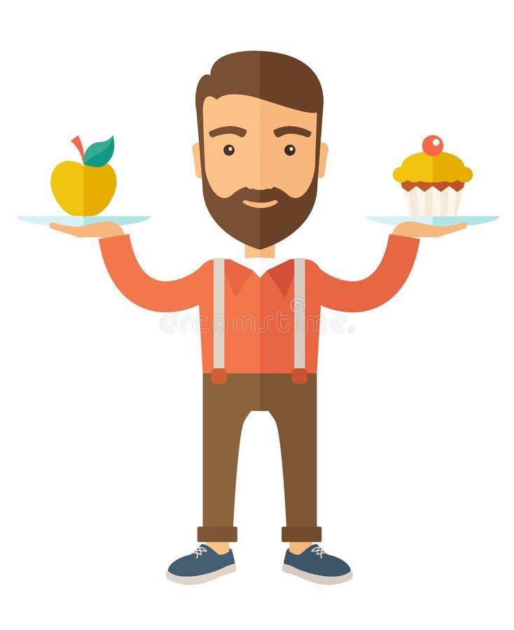 El hombre lleva con sus dos manos magdalena y manzana ilustración del vector