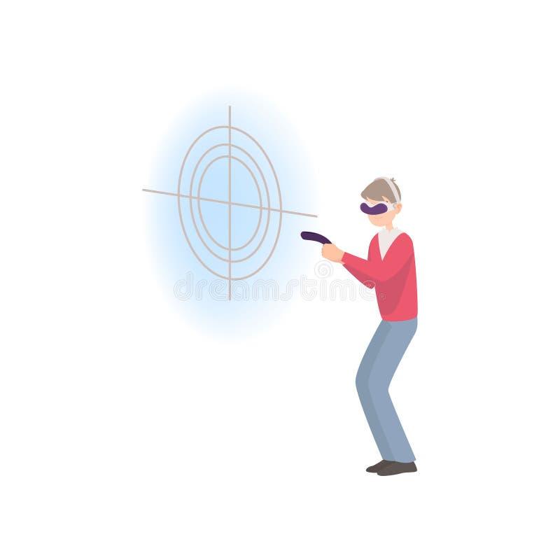 El hombre lleva gafas de la realidad virtual y juega a la pistola en tiempo real libre illustration