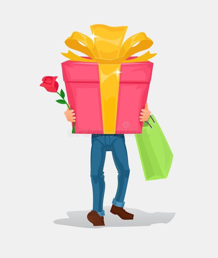 El hombre lleva un regalo de la caja de cartón ilustración del vector