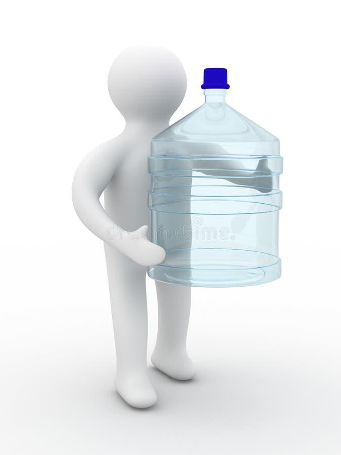 El hombre lleva una botella libre illustration