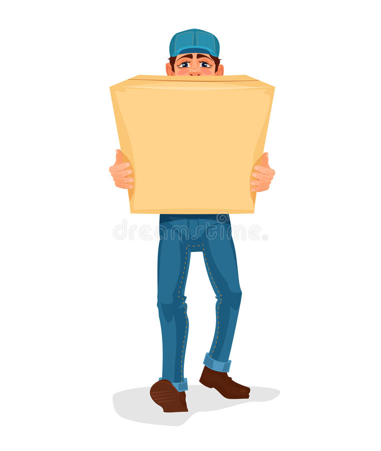El hombre lleva una caja de cartón stock de ilustración