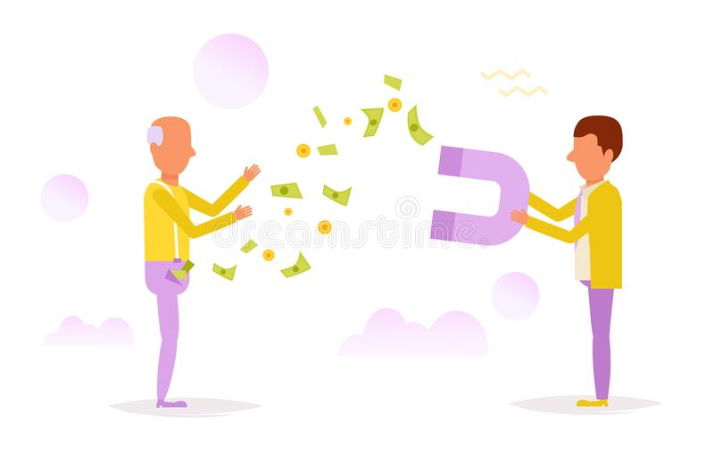 El hombre magnetiza el dinero libre illustration