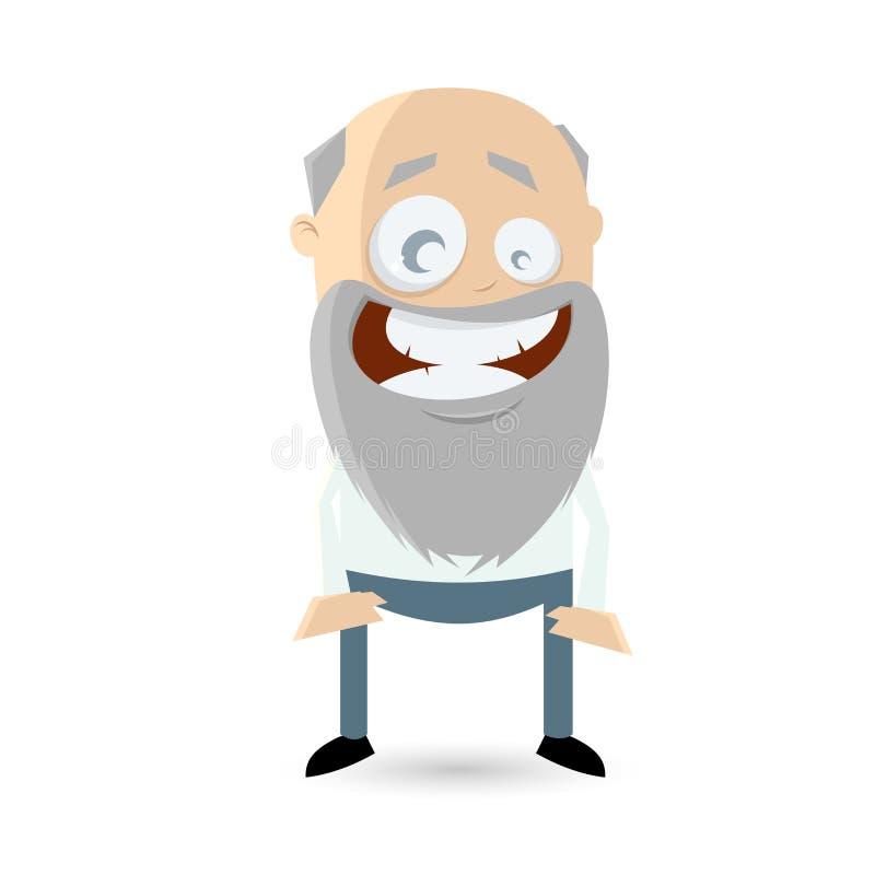 El hombre mayor divertido está sonriendo ilustración del vector
