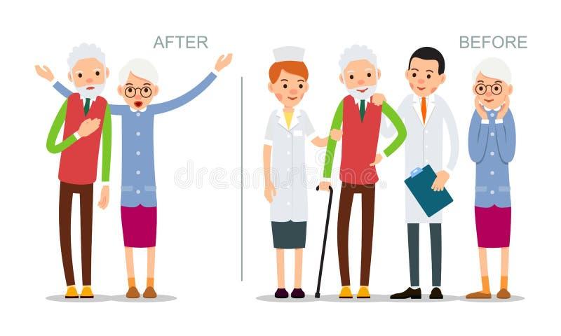 El hombre mayor está enfermo y se siente mal Mayor antes y después de la enfermedad Paciente recuperado rodeado por los doctores  stock de ilustración