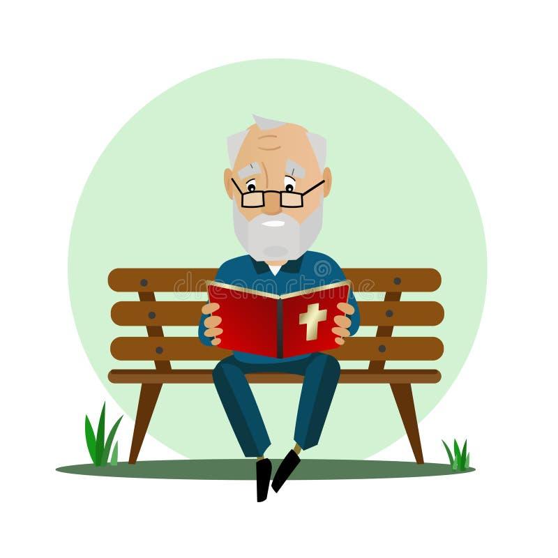 El hombre mayor lee la biblia mientras que se sienta en un banco de parque ilustración del vector