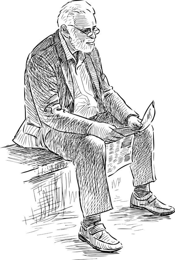 El hombre mayor lee un periódico libre illustration