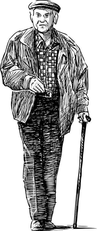 El hombre mayor va en un paseo stock de ilustración