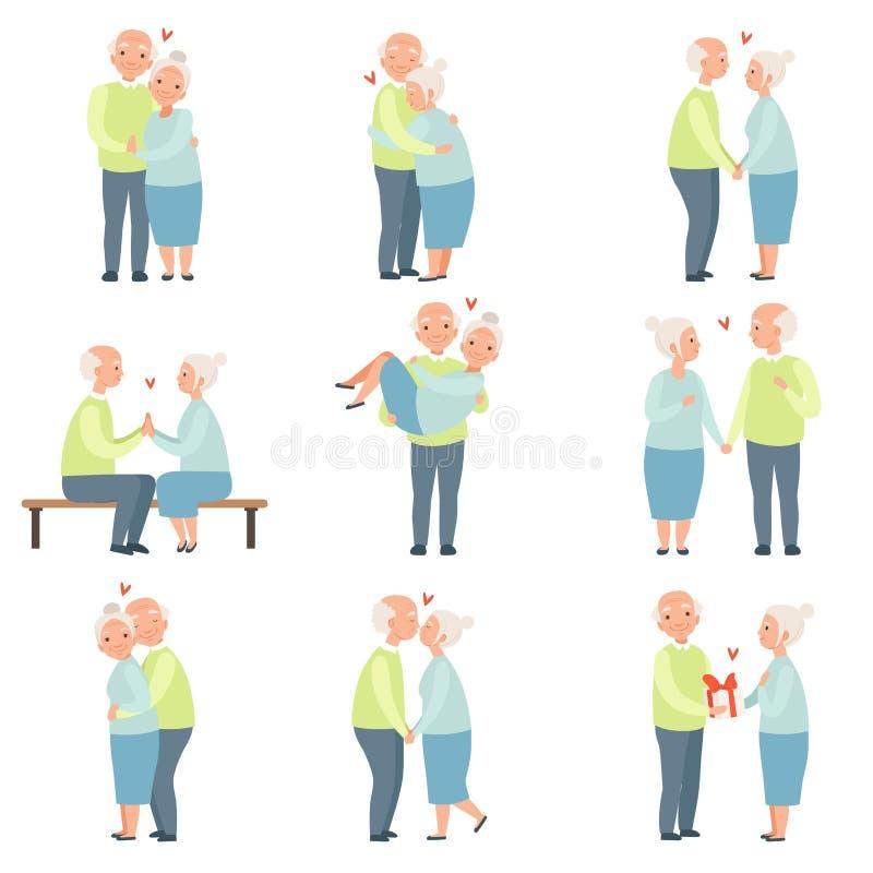 El hombre mayor y la mujer que tienen un buen rato junto fijado, los pares románticos mayores en amor vector ejemplos en un blanc ilustración del vector