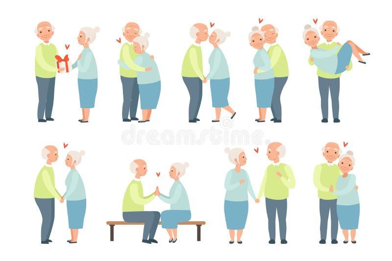 El hombre mayor y la mujer que tienen un buen rato junto fijado, los pares rom?nticos mayores en amor vector ejemplos en un blanc libre illustration