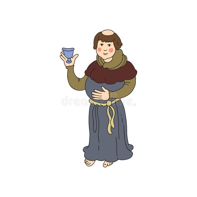 El hombre medieval del sacerdote con la taza de plata del vino está bebiendo ilustración del vector