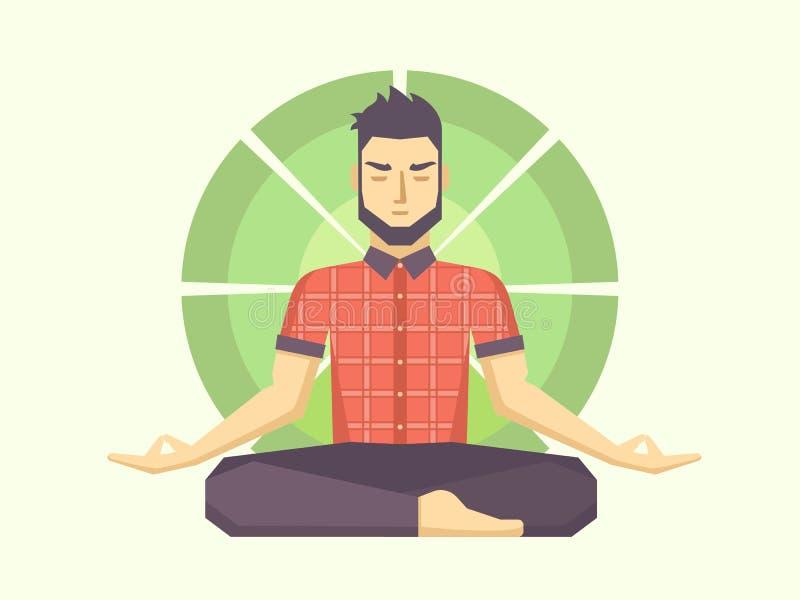 El hombre medita en la posición de loto stock de ilustración