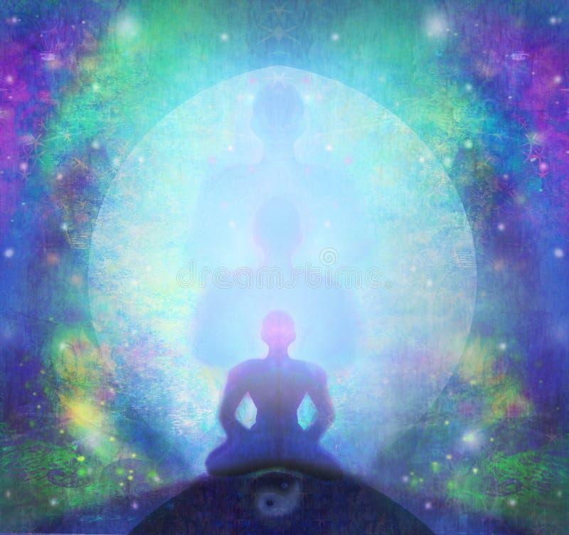 El hombre medita, yoga stock de ilustración