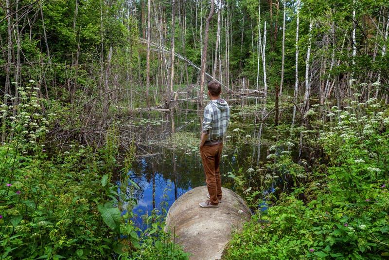 El hombre mira el lago imagen de archivo libre de regalías