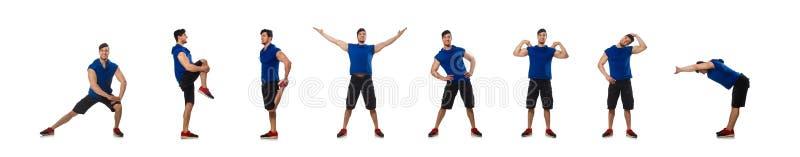El hombre muscular aislado en el blanco foto de archivo libre de regalías