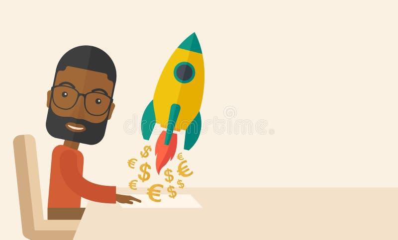El hombre negro es feliz de crear un nuevo negocio ilustración del vector