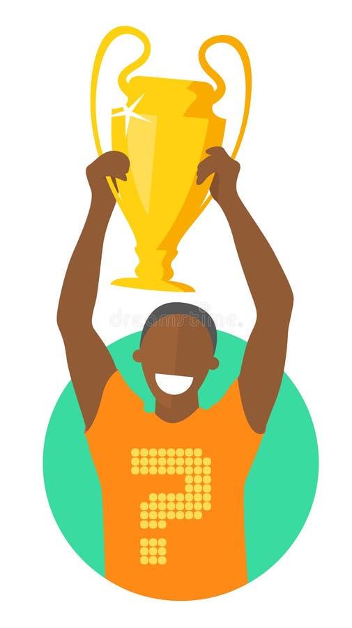 El hombre negro que sostiene la taza de oro, vector el diseño plano, que ganará concepto del campeonato libre illustration