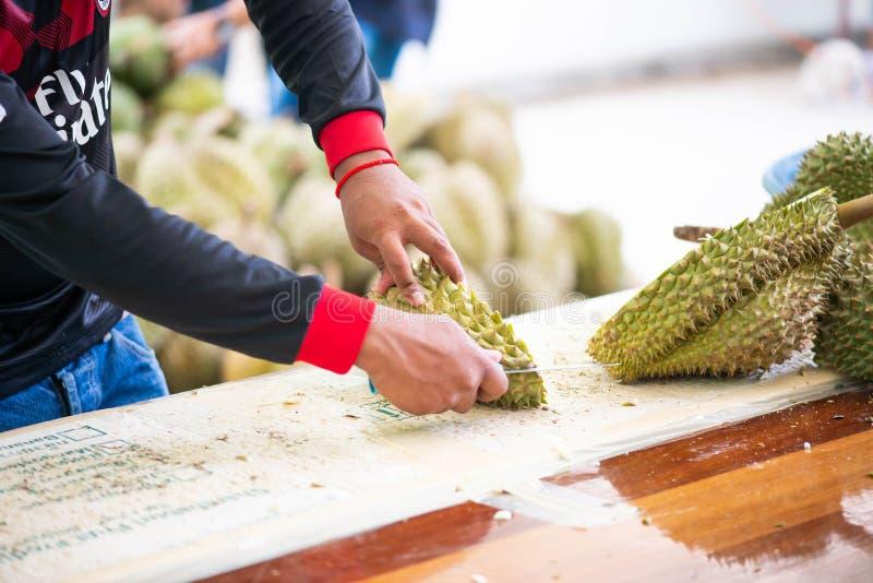 El hombre pela el durian fotos de archivo libres de regalías
