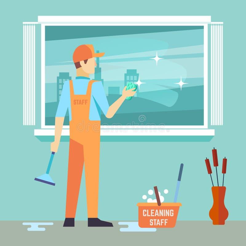 El hombre plano lava la ventana - carácter del vector del hombre de la limpieza ilustración del vector