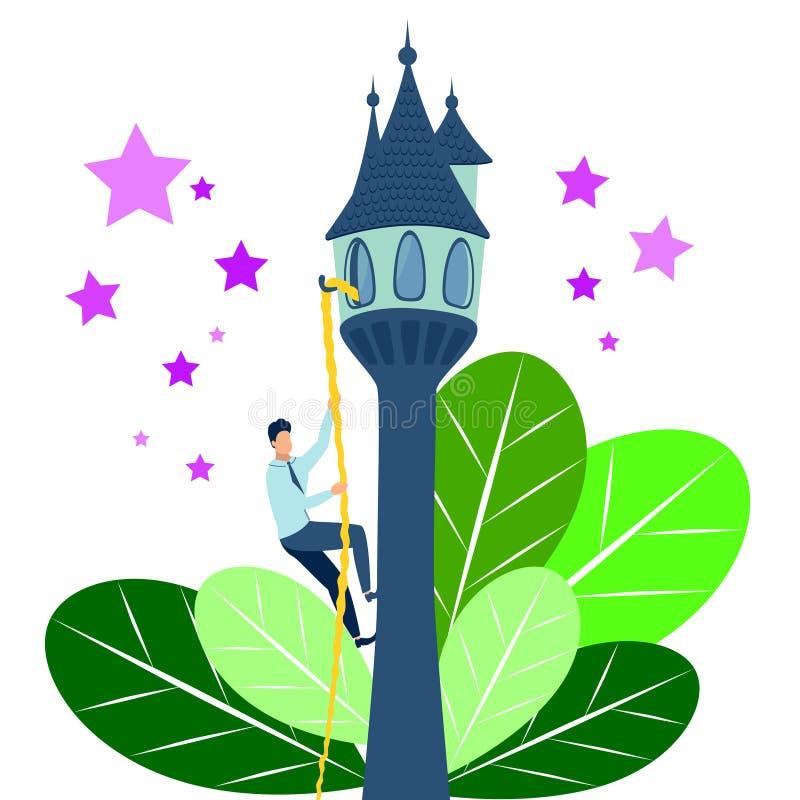 El hombre plano va a su meta La historia Rapunzel, cuento de hadas en estilo minimalista Vector de la historieta libre illustration