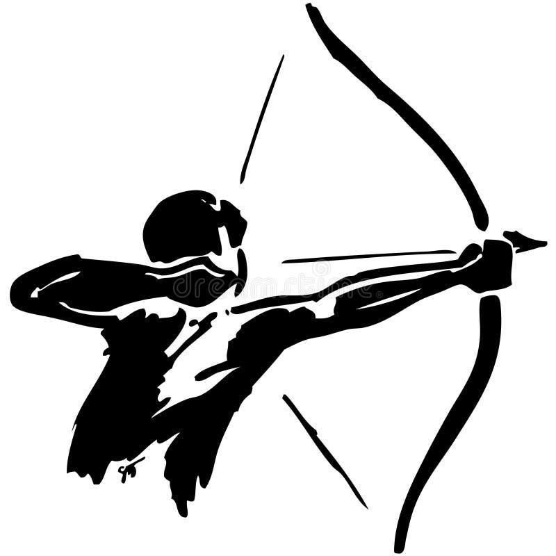 El hombre practica tiro al arco stock de ilustración