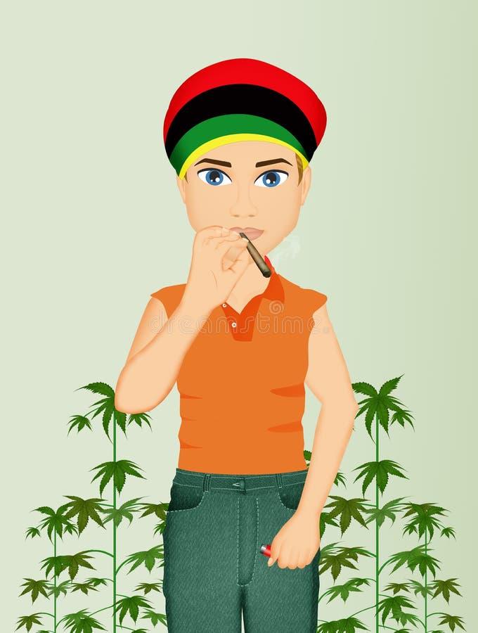 El hombre produce la marijuana ilustración del vector