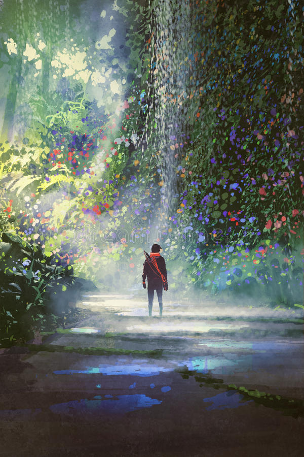 El hombre que camina en bosque hermoso stock de ilustración