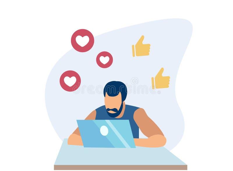 El hombre que comprueba a gente revisa en red social en la PC ilustración del vector