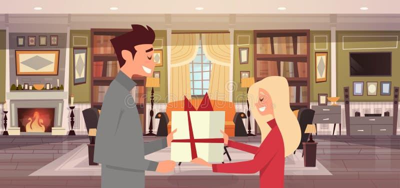 El hombre que da a mujer la actual caja sobre fondo de la sala de estar, los pares felices celebra día de fiesta en casa stock de ilustración