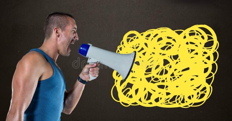 El hombre que grita en megáfono con garabato amarillo garabatea imágenes de archivo libres de regalías