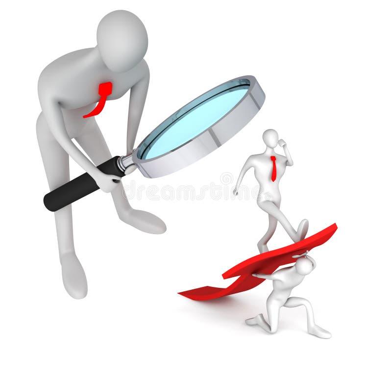 El hombre que mira en hombre gira la flecha para arriba stock de ilustración