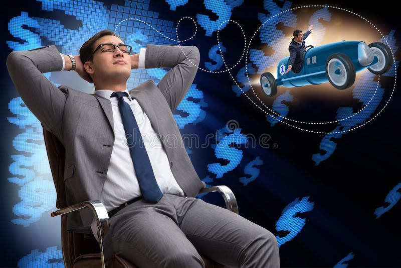 El hombre que piensa en su ipo del negocio imagenes de archivo