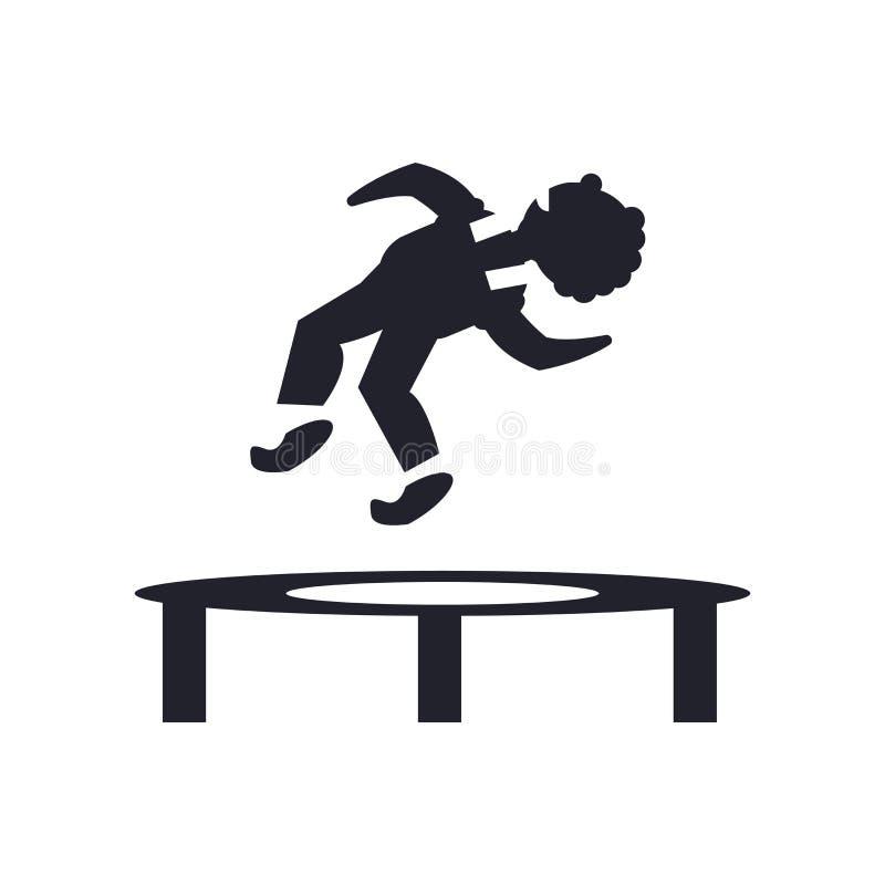 El hombre que salta de una muestra y de un símbolo del vector del icono del trampolín aislados en el fondo blanco, hombre que sal ilustración del vector