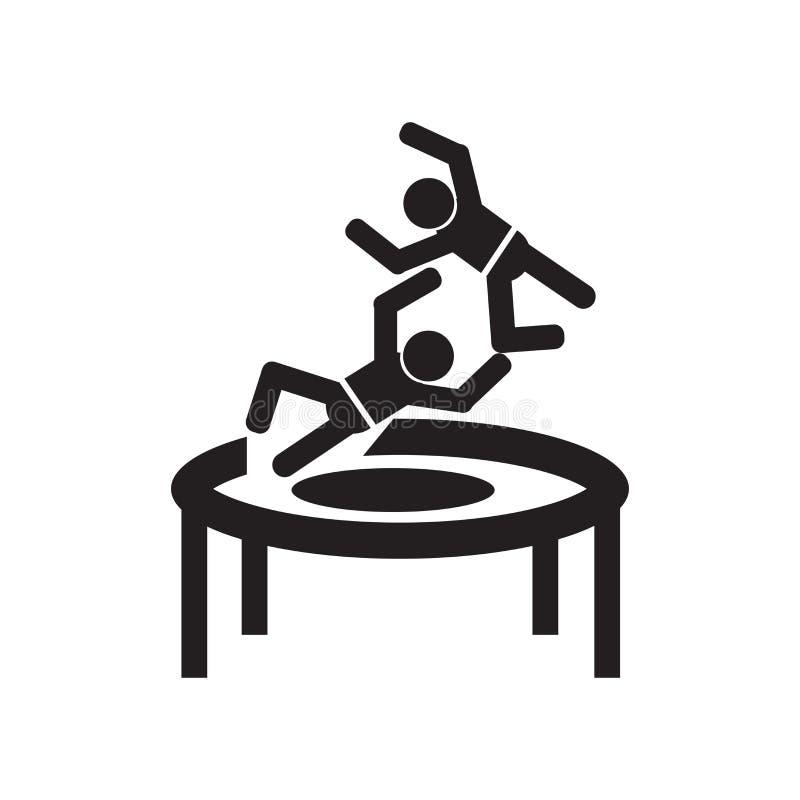 El hombre que salta de una muestra y de un símbolo del vector del icono del trampolín aislados en el fondo blanco, hombre que sal libre illustration