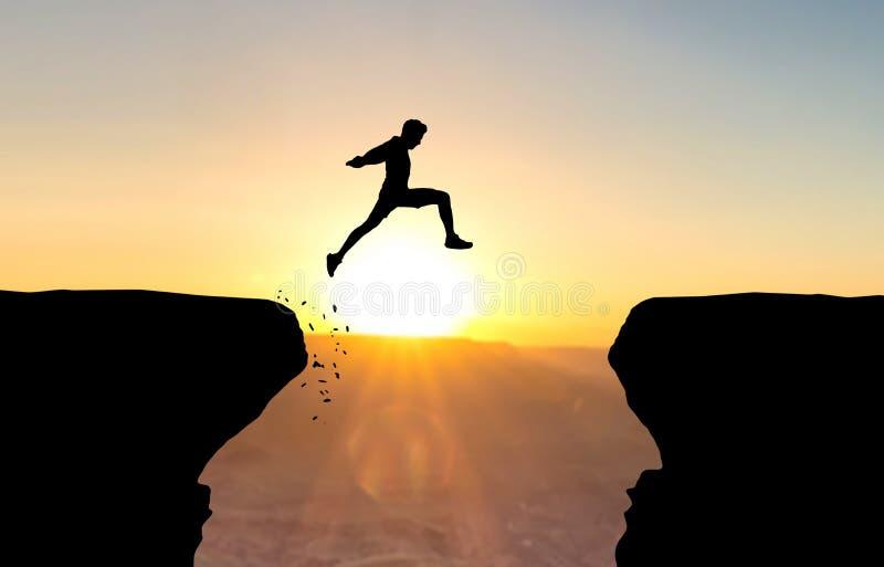 El hombre que salta sobre abismo imagenes de archivo
