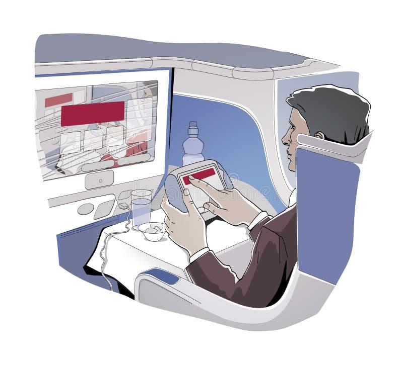 El hombre que se sienta en una clase de negocios de un aeroplano est? sosteniendo una trayectoria del control del monitor Almuerz stock de ilustración