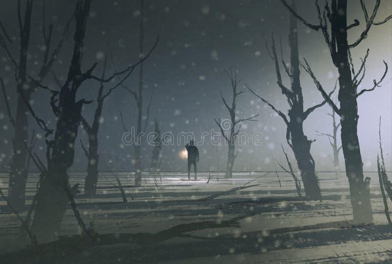 El hombre que sostiene la linterna se coloca en bosque oscuro con niebla libre illustration