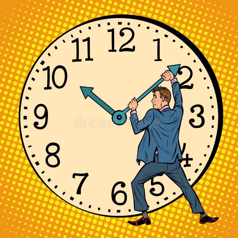 El hombre quiere parar el reloj Gestión de tiempo ilustración del vector