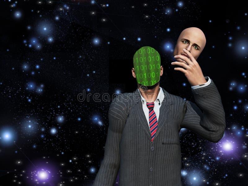El hombre quita la cara para revelar el binario ilustración del vector