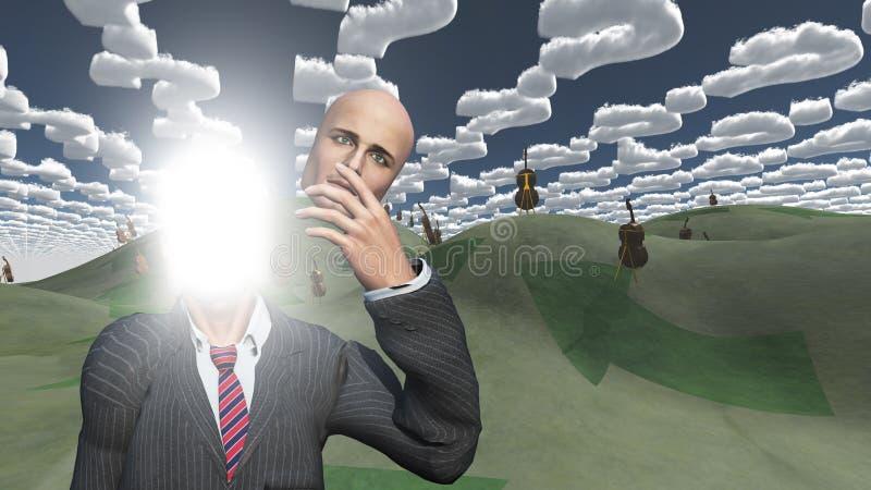 El hombre quita la cara que muestra el lightn adentro libre illustration