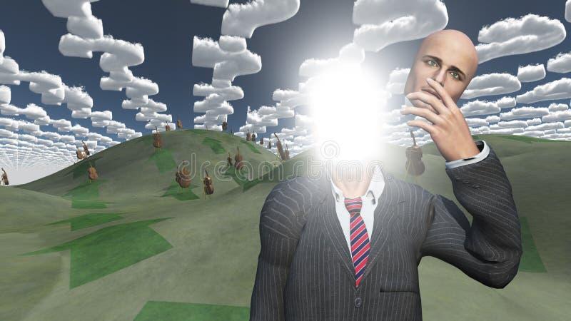 El hombre quita la cara que muestra la luz en paisaje ilustración del vector